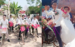 Chú rể dẫn hàng chục trai làng đạp xe đến rước vợ, phản ứng của cô dâu khiến tất cả thích thú