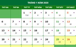 Tết Âm 2020 vào ngày bao nhiêu Dương lịch?
