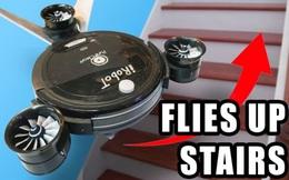 Thất vọng vì robot hút bụi không biết leo cầu thang, YouTuber lắp luôn cánh để nó bay được trong nhà