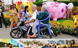 Hai người già đèo nhau dạo phố ngắm cảnh Tết, dân mạng rơi nước mắt với một chi tiết