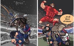 Cay đắng với đội nhà, họa sỹ Thái Lan vẽ hí họa ví U23 Việt Nam như Phù Đổng
