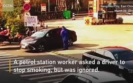 Hút thuốc gần trạm xăng, người đàn ông nhận bài học nhớ đời