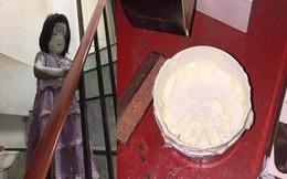 Ngủ trưa dậy, cô chị giật mình khi thấy em thực hành tắm trắng trên cầu thang