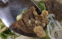 Công nhân nhà máy may phát hiện cả đàn dòi ở miếng thịt trong tô bún