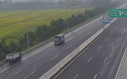 Nữ tài xế xe tải ngang nhiên chạy ngược chiều trên cao tốc Hà Nội - Hải phòng