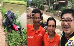 Phượt thủ Hàn Quốc lao xe xuống mương được 2 người Việt cứu, hành động sau đó càng gây thích thú