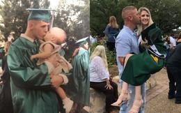 Ảnh 'ngày ấy bây giờ' cực độc: Chàng trai 19 tuổi ôm hôn con gái ngày tốt nghiệp, 18 năm sau làm điều tương tự trong lễ ra trường của đứa trẻ
