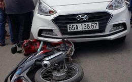 Nghi phạm buôn bán ma tuý chạy ôtô tông vào xe máy cảnh sát để bỏ trốn