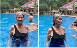 Bà cụ gần 90 tuổi mặc đồ tắm xuất hiện ở bể bơi khiến bao người trầm trồ