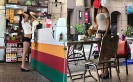 Mặc mát mẻ đứng phục vụ đồ ăn, cô gái khiến người xung quanh nóng mắt