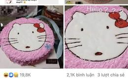 """Đặt hình Hello Kitty, cô gái lại nhận về chiếc bánh mặt mèo bị """"tẩy trang"""", xấu tới mức không muốn thổi nến"""
