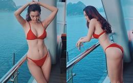 Cận cảnh thân hình bốc lửa của Hoa hậu Du lịch Thế giới Huỳnh Vy