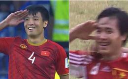 Dáng ăn mừng chiến thắng của Bùi Tiến Dũng khiến dân tình đồng loạt nhớ hình ảnh của tiền vệ Hồng Sơn 20 năm trước