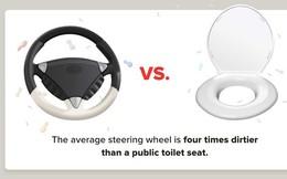 Vô lăng ô tô còn bẩn hơn cả bồn cầu?