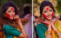 Xuất hiện trong lễ hội Mùa Xuân, thiếu nữ Ấn Độ khiến cộng đồng mạng chao đảo vì nhan sắc đẹp tựa thần tiên