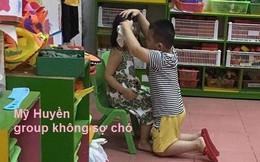 """Thấy bé gái khóc nức nở vì bị vẽ mèo, hành động ga lăng của """"soái ca"""" 5 tuổi khiến nhiều người lịm tim"""