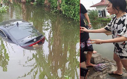 Đạp nhầm chân ga, nữ tài xế xinh đẹp và 4 người lao xuống mương ở Nam Định