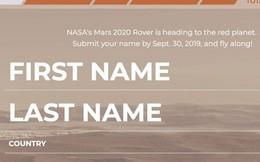 NASA đang mời mọi người ghi danh để đưa tên mình lên sao Hoả