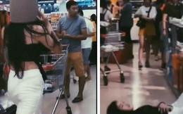 Gái xinh bày đủ trò lố trong siêu thị, nhân viên bán hàng nhắc nhở mỏi miệng còn người xung quanh lắc đầu ngán ngẩm