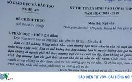 Thông tin chính thức sự trùng hợp đề thi môn Văn vào lớp 10 ở Nghệ An