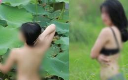 Cô gái chụp ảnh khỏa thân ở đầm sen tiếp tục bị chỉ trích vì mặc nội y tạo dáng khêu gợi ở đồng cỏ