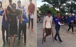 Nam sinh ngồi xe lăn, chống gậy tham gia kỳ thi THPT quốc gia