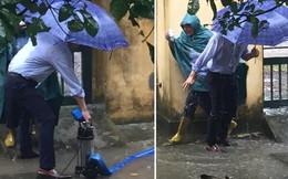 Dầm mưa thông cống thoát nước, thầy hiệu trưởng nhận kết đắng khi người thì ướt mà nước càng lêng láng hơn