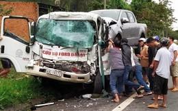 Xe cứu hộ tông xe tải, tài xế bị kẹt trong ca bin gãy nát 2 chân