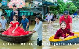 Quan viên hai họ xắn quần, đem thuyền thúng bì bõm vượt lũ đi rước dâu ngày mưa bão gây xôn xao