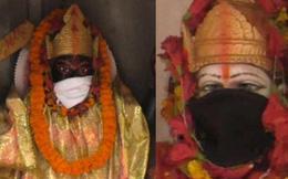 Người dân Ấn Độ đeo khẩu trang cho tượng thần để tránh không khí ô nhiễm