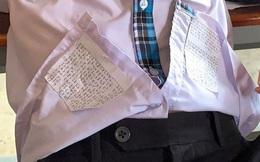 Thấy áo học trò hơi phồng so với bình thường, cô giáo kiểm tra thì phát hiện ra chiêu giấu tài liệu hết sức công phu