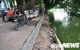 Hà Nội dùng bê tông đúc sẵn để kè bờ hồ Hoàn Kiếm đang xuống cấp