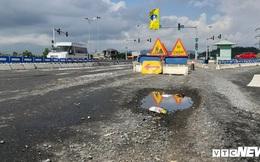 Vừa 'vá' xong, mặt đường cao tốc Đà Nẵng - Quảng Ngãi lại xuất hiện ổ voi