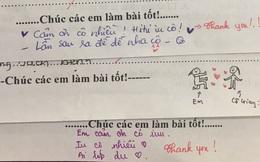 """Trình """"nịnh"""" cô của học sinh lên tầm vô cực: Bài kiểm tra cũng không tha, thả tim chiu chíu và nhắn nhủ ngọt ngào thế này"""