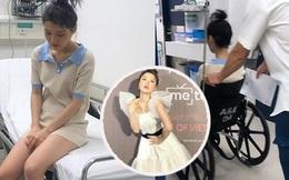 Han Sara bất ngờ nhập viện vì bị trật chân liên tục, phải dùng xe lăn để di chuyển sau khi cố nén đau đi tham dự sự kiện