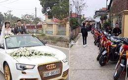 Dàn xe đón dâu cực hoành tráng ở Phú Thọ khiến dân tình trầm trồ: Xe hoa là Audi tiền tỉ, dàn SH theo sau hàng chục chiếc