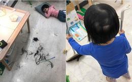 Sơ ý ngủ quên 30 phút, hot mom Minh Trang hốt hoảng phát hiện 3 con gái tự cắt tóc cho nhau trụi húi cả mảng