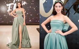 Hoa hậu Khánh Vân khoe vai trần, chân dài tại Hà Nội