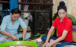 NSƯT Trịnh Kim Chi cùng chồng con gói bánh chưng đón Tết