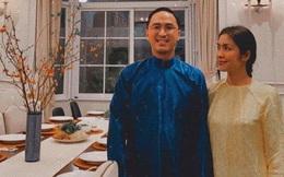 Vợ chồng Tăng Thanh Hà diện áo dài truyền thống trong bữa tiệc tất niên