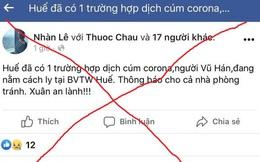 Xuất hiện thông tin sai lệch về dịch viêm phổi cấp do virus Corona ở Huế