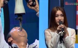 Hari Won, Cát Phượng la hét, con gái bật khóc khi thấy bố biểu diễn nhét máy khoan bê tông vào cổ họng