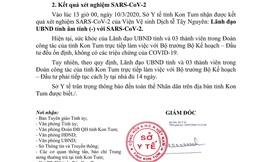 Lãnh đạo UBND tỉnh Kon Tum có kết quả xét nghiệm âm tính với Covid-19, tiếp tục cách ly 14 ngày