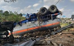 Xe bồn chở hóa chất lật trên rìa cao tốc TP HCM – Trung Lương, hoá chất trong bồn tràn ra ngoài