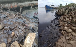 Người dân kinh hãi với vệt dầu đen kịt, đặc quánh ở bờ sông Lam