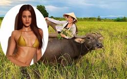 Người mẫu Việt gợi cảm, nổi tiếng về quê chăn trâu phụ giúp gia đình