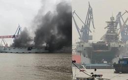 Tàu chiến siêu lớn của Hải quân Trung Quốc bốc cháy, khói đen bốc lên ngùn ngụt