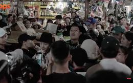 Trường Giang đi chợ, cả trăm người chen lấn vây quanh, cho không đồ ăn