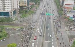 Giờ cao điểm tại các ngã tư lớn nhất Hà Nội ngày cách ly từ flycam