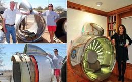 Thấy trời nóng quá, hai bố con chế động cơ Boeing 707 thành ghế kèm quạt gió 'siêu to khổng lồ'